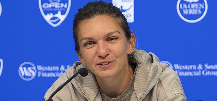 Imagini de la conferinţa de presă susţinută de SIMONA HALLEP după meciul cu Anastasija Sevastova