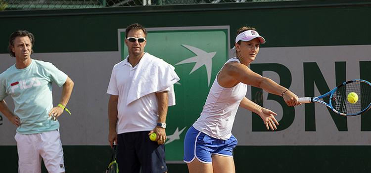 Imagini de la antrenamentul de duminică la Roland Garros al Irinei-Camelia Begu şi Mihaelei Buzărnescu